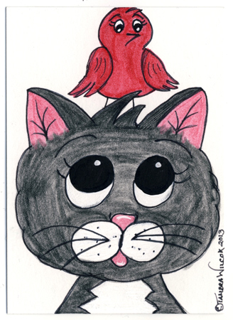 Cat with Redbird